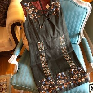 NWT Anthropologie Moss Green Avis Lace-Up Dress XS